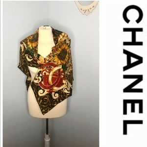 NWOT Authentic Chanel extra large 100% silk scarf